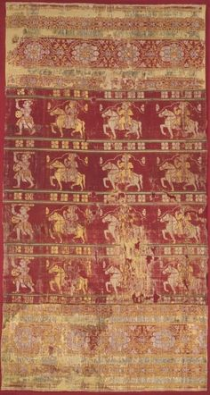 Tent Hanging (Part of a Larger Piece), India, Gujarat, Ahmadabad, 16th-early 17th century  lampas weave, silk, Overall - h:94.00 w:172.40 cm (h:37 w:67 13/16 inches). Gift of George P. Bickford 1953.474. Cleveland Museum of Art.