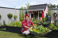 Jade Temepara after a huge day setting up her exhibiton garden. Here she is with her wheelbarrow garden, another inspiring idea