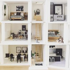 Photo mash up of 3 floors of the Malibu #moderndollshousereno #malibudollhousekit