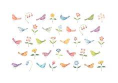"""Colorful Birds and Flowers"" −RiLi, picture book, illustration, design ___ ""パターン: 色とりどりの鳥たちと花"" −リリ, 絵本, イラスト, デザイン ...... #illustration #bird #flower #イラスト #花 #鳥"