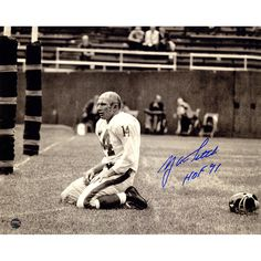 """Steiner Y.A. Tittle Signed Agony of Defeat Blood 8x10 Photo w/ """"hof"""" Insc."""