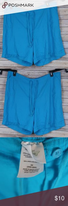 Just My Size Blue Shorts Plus Size 4x (26w-28W) Like New  Very Small stain in front See picture for details 55% linen 45% Rayon Just My Size Shorts