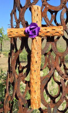 Large Cholla Wood Cross Purple Metal Flower by CathyDeLeRee