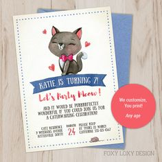 The Purrrrfect Kitty Party Invite for Little Girls! We'll customise this Cat Party Invite for you! Printable Invitations, Party Printables, Invitation Design, Invite, Times Table Chart, Aristocats Party, Teddy Bear Party, Kitty Party, Party Venues
