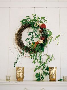 Autumn wreath gracing our pavilion wall Classic Cedarwood Autumn Wedding :: Erin+Taylor Greenery Wreath, Floral Wreath, Floral Wedding, Wedding Flowers, Erin Taylor, Wedding Doors, Wedding Wreaths, Autumn Wreaths, Altars