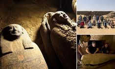 Archaeology: Egyptian experts unearth 13 sealed wooden coffins in the desert necropolis of Saqqara | Daily Mail Online