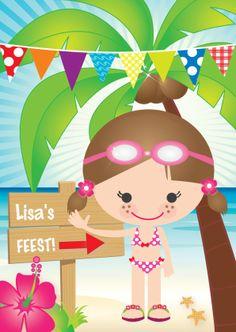 Uitnodiging zwemfeestje meisje - Uitnodigingen - Kaartje2go