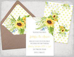 DIY Hochzeit Einladungen Vorlagen, druckbare gelb Toskana Sunflower Einladungen mit einem Tupfen und Sonnenblume zurück & passenden Umschlag-Liner-Vorlage für Sie Ihre eigenen DIY Hochzeitseinladungen, perfekt für eine rustikale oder Sonnenblumen Hochzeitsthema machen.  Fügen Sie einfach Ihren eigenen Text, drucken und schneiden. Sie können drucken, so viele wie Sie möchten. Sie können diese Vorlage in Word oder einem anderen Programm, die kompatibel mit Microsoft Word-Dateien verwenden  ...