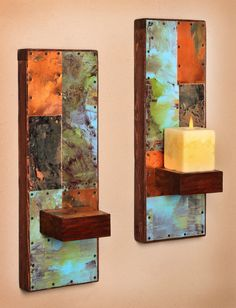 Wall sconces for the copper vanity powder room. Two Metal and Copper Wall Sconces by paulrungstudio on Etsy, $98.00