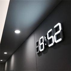 Modern Design LED Wall Clock Modern Digital Alarm Clocks Display Home Living Room Office Table Desk Night Wall Clock Display Hanging Clock, Led Wall Clock, Desk Clock, Wall Clocks, Clock Decor, Wall Clock Bedroom, Wall Clock Calendar, Wall Clock Light, Bedroom Setup