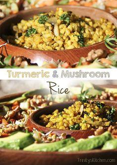A delicious turmeric & mushroom rice recipe. #glutenfree #vegan #healthy