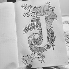 Bullet journal monthly cover page, January cover page, plant drawings. | @karlavera_13