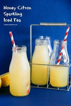 Honey Citron Sparkling Iced Tea   http://MyKoreanKitchen.com