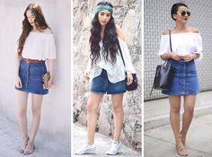 Inspiração: saia jeans com botões - E aí, Beleza?