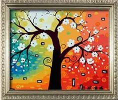 Diy oil painting, paint by number kit- Abstract tree¢ò 16*20 inch.