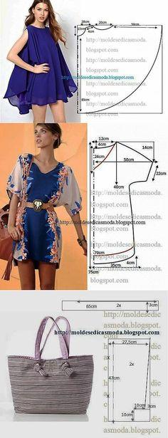 К лету - простые выкройки. 2 платья (туники) и сумка.