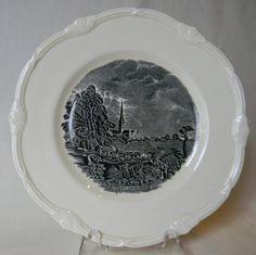 Vintage English China Black Transferware Plate Salisbury Cathedral Church John Constable Horses Cart River Creamware Embossed Border