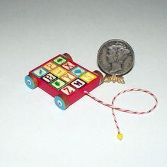 use mini alphabet friendship beads for blocks Wagon with Blocks Dollhouse Miniature