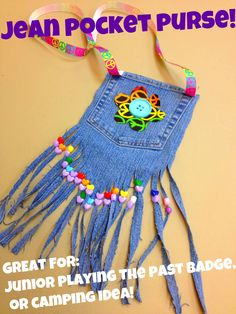 Easy and super fun! Idea for Girl Scout Independent Badge - learn to sew step Girl Scout Swap, Girl Scout Leader, Girl Scout Troop, Brownie Girl Scouts, Junior Girl Scout Badges, Jean Pocket Purse, Denim Purse, Pocket Craft, Girl Scout Activities