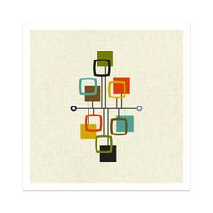VIEW Square Version Giclee Print Mid Century Modern by Thedor