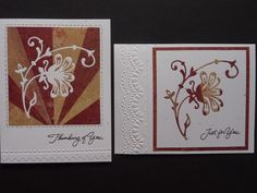 handmade cards ... Inlayed Sunburst by Mrs Noofy  ... two cards with interchange of die cut ... one with starburst and one plaing ... lovely embossing folder texture too ...