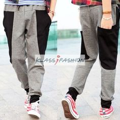 Men's Fashion Casual Harem Sport Pants Dark Grey