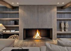 Contemporary Fireplace Decor Before And After Fireplace Makeovers Modern Fireplace Ideas . Home Fireplace, Fireplace Remodel, Living Room With Fireplace, Fireplace Surrounds, Fireplace Design, Living Room Decor, Fireplace Ideas, Basement Fireplace, Linear Fireplace