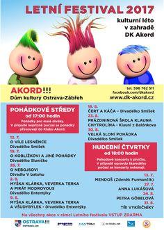 Letní festival 2017. Pohádkové stedy a Hudební čtvrtky pro celou rodinu.