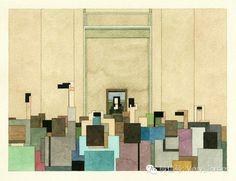 美国画家Adam Lister像素化的水彩绘画