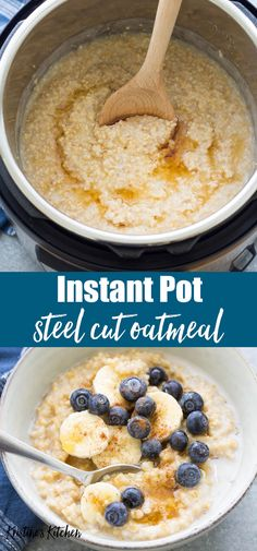 Instant Pot Steel Cut Oats - How to cook Instant Pot Steel Cut Oats – An easy. Instant Pot Steel Cut Oats - How to cook Instant Pot Steel Cut Oats – An easy recipe for steel cut oatmeal. This Instant Pot s - pot recipes Oats Recipes, Gourmet Recipes, Healthy Recipes, Crockpot Recipes, Oats Breakfast Recipes, Recipes With Milk, Syrup Recipes, Blueberry Breakfast, Cooker Recipes