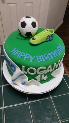Amy's Crazy Cakes - Real Madrid Nike Scarf, Nike CR7 Cleat and soccer ball cake topper birthday cake