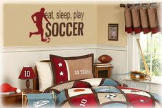 Eat, Sleep, Play, Soccer vinyl wall lettering with Soccer player silhouette vinyl wall art decal - Choose two vinyl colors. $25.00, via Etsy.