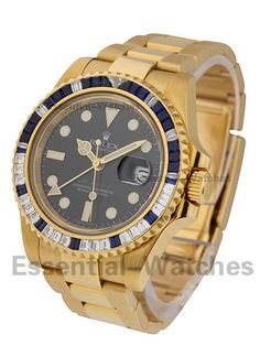 Rolex Unworn116748SA GMT Master II with Sapphire and Diamond Baguette Bezel - Yellow Gold on Bracelet with Black Dial CERTIFIED PREOWNED Item ID - 68381 Model # - 116748SA Case - 18KT Yellow Gold Case Size - 40mm Movement - Automatic Dial - Blue Bracelet - 18KT Yellow Gold Bracelet Your Price - $71,750 (Wire Price - $70,000) * Pre-Owned with Box and Papers