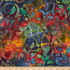 Designed by Lunn Studios for Robert Kaufman Fabrics, this Indonesian batik is perfect for quilting, apparel and home decor accents. Colors include red, orange, blue, green and gold.