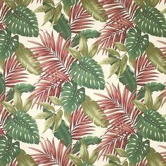 Hanalei (Natural) - Tropical Leaf Fabric