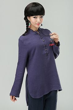 Lavender Chinese Style Ladies Cotton/Linen Solid Color Long-Sleeved Shirt via Asia-Sale Best Tai Chi, Kung Fu Clothing