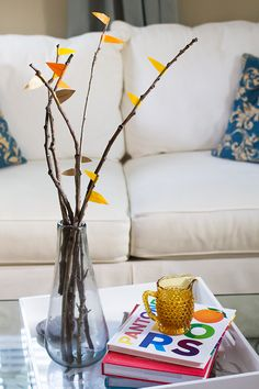 Learn to make simple fall decor by wrapping washi tape around twigs | Sarah Hearts