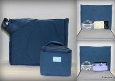 Choose your lining, Navy Maryssa Breast Pump Bag including a cooler bag by EllaAlana on Etsy
