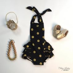 Black and Gold Polka Dot Romper