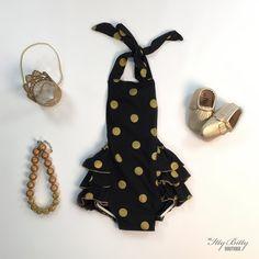 Black and Gold Polka Dot Romper
