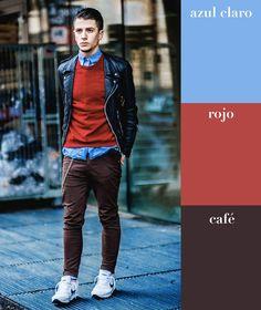 Azul claro + rojo + café | 17 Combinaciones de color que todo hombre puede usar