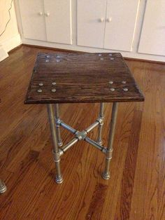 Oak Industrial Iron Pipe End Table by IronCrafts on Etsy, $195.00