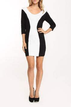 Black & White Two-Tone Tunic. Perfect mini! Mod meets fly girl!