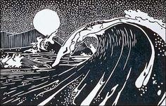 Wave. Woodcut print by Tom Killion.