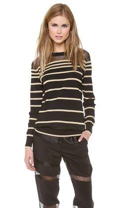 3.1 Phillip Lim Sheer Lurex Stripe Pullover