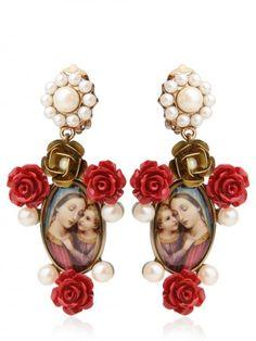DOLCE & GABBANA   Virgin Mary Red Rose Resin Earrings