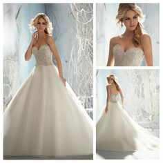 The Ball Gown Ivory Organza Fully Beading Top Long Tail Wedding Dress With Crystals $189.99