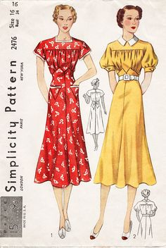 A lovely 1930s frock with square neckline buttons down the back. The short sleeves are in one with the straight yoke. The blouse gathers below the yoke and where it joins the circular skirt in a pointed line. The shaped pockets are optional. Style II has a turnover collar and short puffed sleeves gathered to a band. Bust 34 Waist 28 Hip: 37 ★ ★ ★ ★ ★ ★ ★ ★ You will receive a high quality reproduction with full scale pattern pieces printed on white paper. This is a clean, computer drafted…