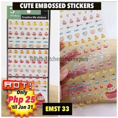 --------------------------------------------------- CUTE EMBOSSED STICKERS NOW: Php 25.00 BEFORE: Php 35 each or 3 for Php 100.00  ONLY 2 STOCK(S) LEFT  Stick these cuties to your planners journals or anywhere you want.  Embossed and waterproof  For orders and inquiries Contact Numbers:  0947-9910622 (Viber/Smart) 0917-4480238 (Globe)  Email: kelaskitchen@gmail.com  Facebook: http://ift.tt/1kEN2F1  MODES OF PAYMENT:  BPI BDO Gcash LBC and other wire transfer facilities  COURIERS:  Xend…
