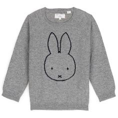 Chinti and Parker x Miffy 'Miffy Face' cashmere kids sweater (380 CAD) ❤ liked on Polyvore featuring grey